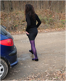 Sara drives on a sideroad for a pee but pees her pantyhose