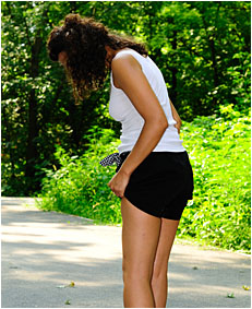Taking a walk in the park Sara wets her shorts