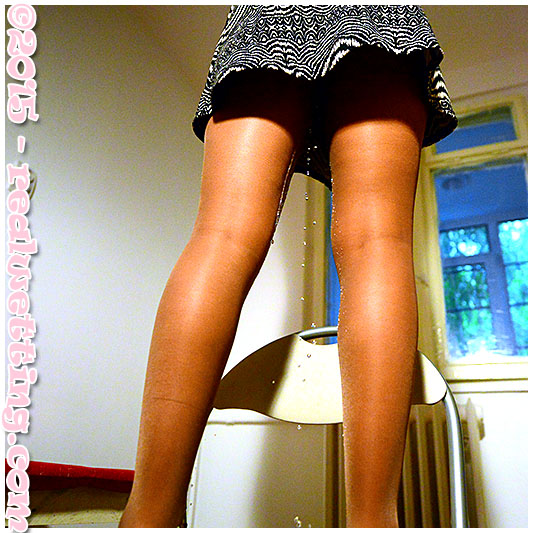 Wetting in pantyhose, sexy girl wets herself by accident