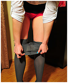 stuck on the phone dominika pisses her pantyhose business suit skirt 00002