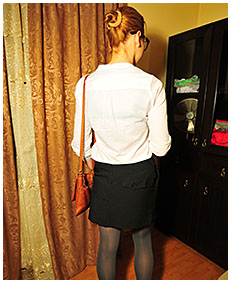 stuck on the phone dominika pisses her pantyhose business suit skirt 00004