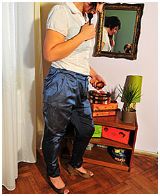 valerie pees her satin pants doing her make up 05