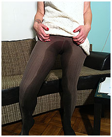 Drawing Valerie wets her knit dress and thick pantyhose tights