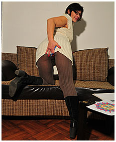 valerie wets her pantyhose and knit dress drawing 03